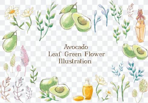 手繪插圖集的鮮花和鱷梨