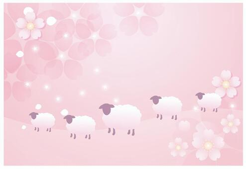 粉紅色的花背景和羊2