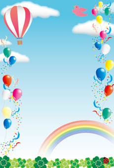 藍色的天空,氣球和氣球節日框架