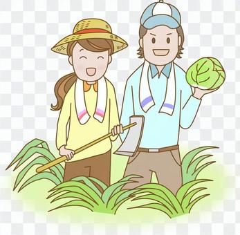 A couple doing agriculture