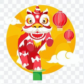 Lanterns and Chinese Lion Dance