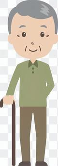 Old man male   grandfather   cane   standing figure