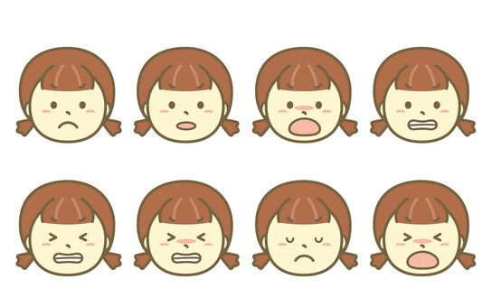 Angry girl face set