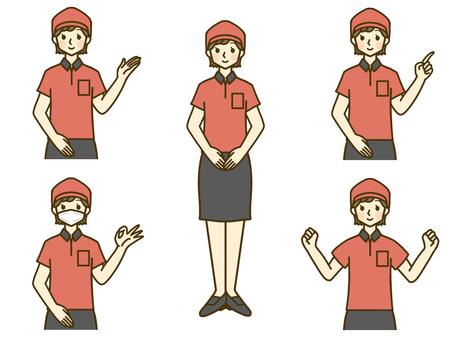 Fast food clerk female whole body upper body