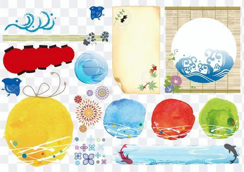 Summer frame Japanese style title decoration