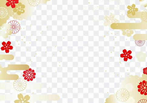 And the handle golden white red chrysanthemum