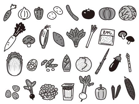 蔬菜套裝黑白