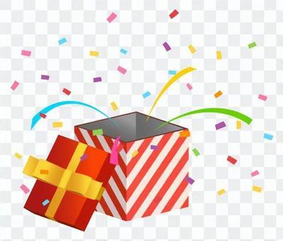 禮物盒·五彩紙屑雪(紅色對角線條紋)