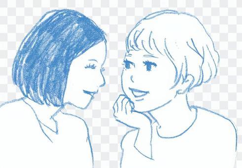 一个女孩说话