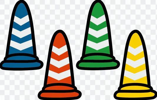 顏色錐體 - 與反射磁帶的4種顏色
