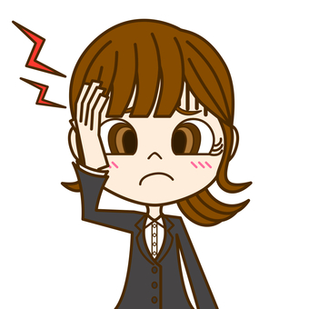 Woman suffering from headache ① / suit