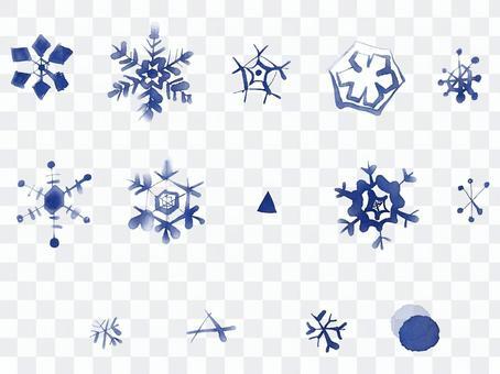 水彩手描き雪の結晶