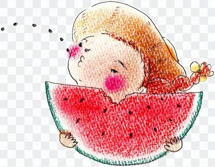 一个吹西瓜子的女孩