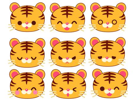 호랑이의 여러가지 표정 세트 일러스트