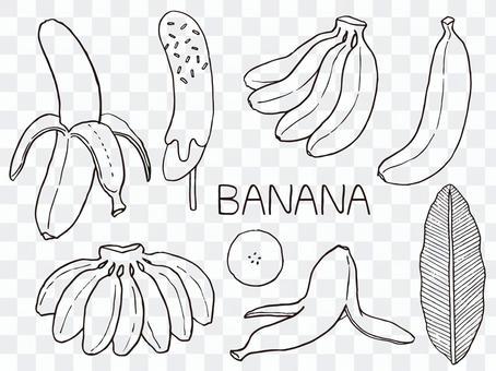 香蕉的插圖(線條藝術)