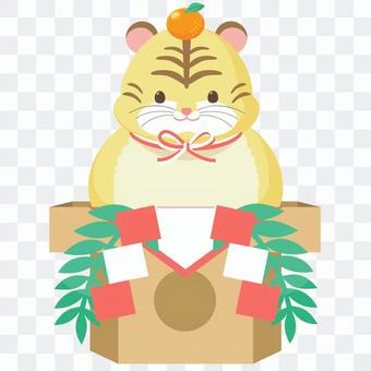 Illustration of tiger-san kagami mochi