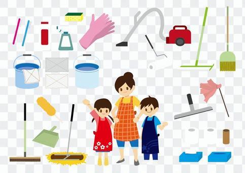 清潔工具和家庭