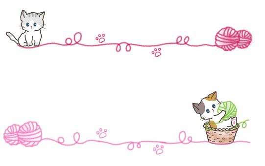 Yarn and cat frame-cat illustration-