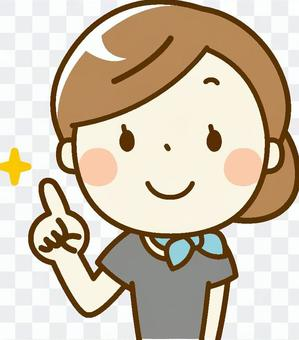 美容師woman_pointing姿勢
