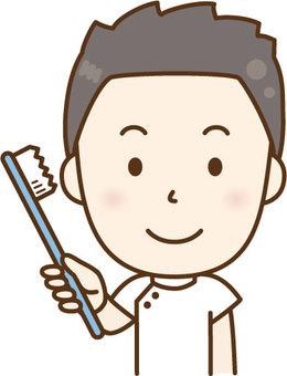 A nurse male with a toothbrush