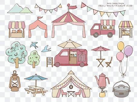 馬爾凱,露營,豪華帳篷藝術線條