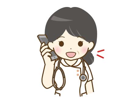 Middle-aged female nurse talking on a smartphone
