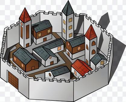 城壁   民家
