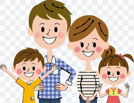 兩個家庭的父親爸爸爸爸媽媽兒童上半身
