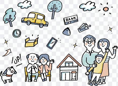 與家人一起生活的各種材料的收集