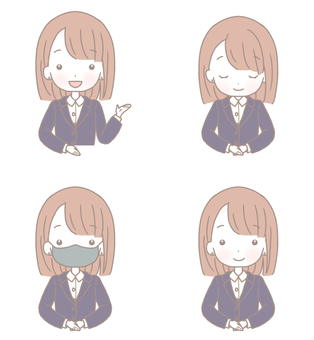 4 types of female poses in suits B