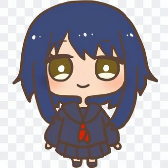 Illustration of a girl in a winter clothes sailor suit