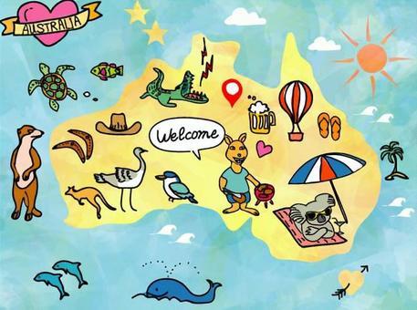 澳洲地圖手寫