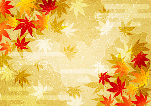 日本紙式秋葉與水平雲的金色背景