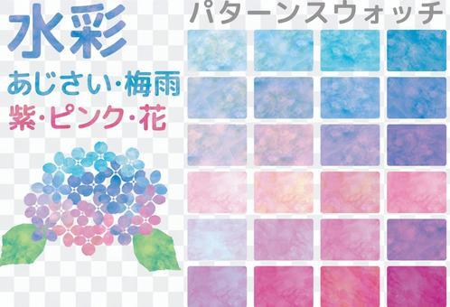 水彩樣式八仙花屬雨季紫色桃紅色樣片