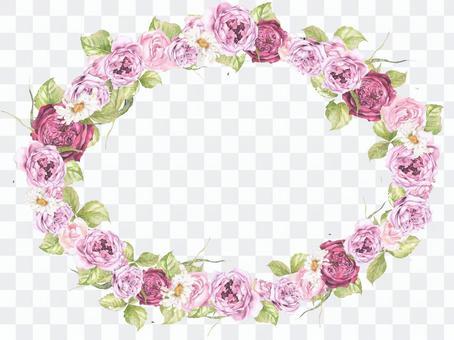 Oval shaped flower frame - luxury rose frame