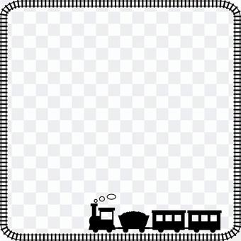 火車和鐵軌的可愛方形框架