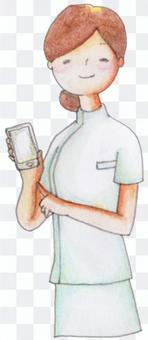 一位智能手機的護士