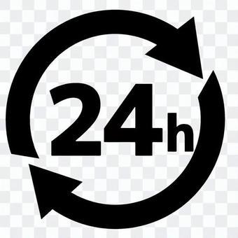 交流24小時標記馬克圖標黑白