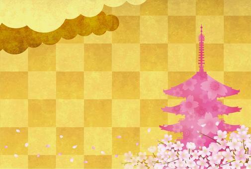 Sakura and five-storied pagoda 3