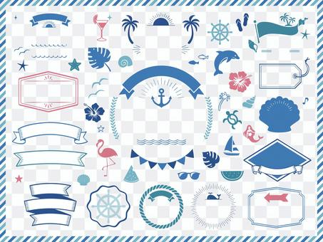 Decorative frames and icons (summer, sea, tropical)