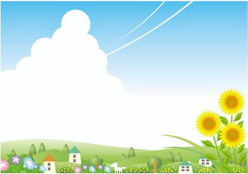 夏天風景與雲層覆蓋