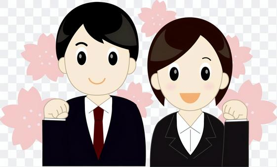 New employee men and women (with cherry blossoms)