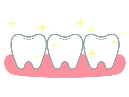 閃閃發光的 3 顆牙齒和牙齦