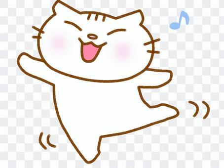 跳舞的白貓