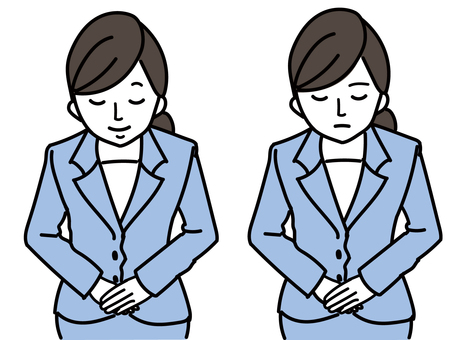 Woman in a business suit bowing