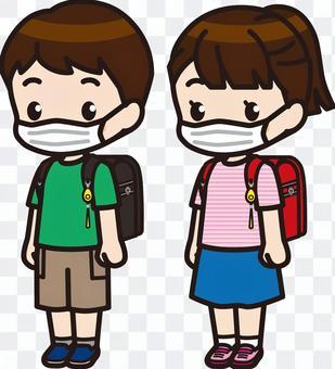 小學男孩和女孩1(面具)