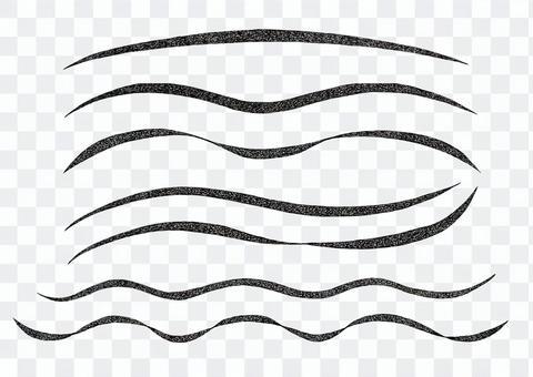 柔らかいリボン紐のような手描き風白黒波線