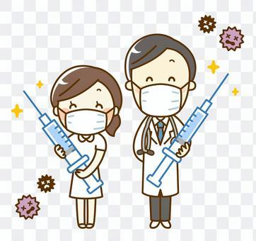 帶注射器的醫生和護士