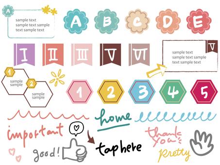 單點圖標和手寫字符