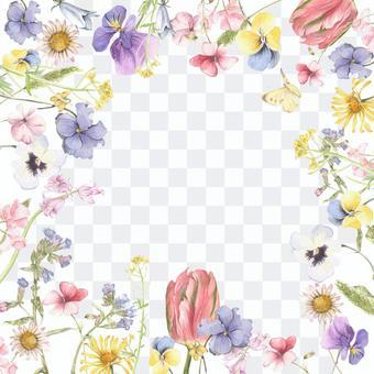 Spring flower and butterfly flower frame - frame
